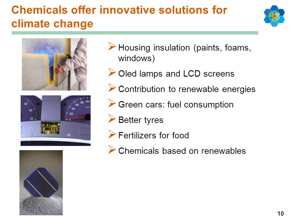 10 Chemicals offer innovative solutions for climate change  Housing insulation (paints, foams, windows)  Oled lamps and LCD screens  Contribution to renewable energies  Green cars: fuel consumption  Better tyres  Fertilizers for food  Chemicals based on renewables