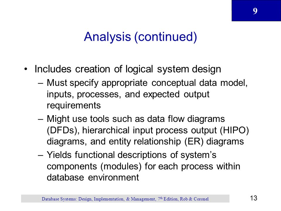 9 13 Database Systems: Design, Implementation, & Management, 7 th Edition, Rob & Coronel Analysis (continued) Includes creation of logical system design –Must specify appropriate conceptual data model, inputs, processes, and expected output requirements –Might use tools such as data flow diagrams (DFDs), hierarchical input process output (HIPO) diagrams, and entity relationship (ER) diagrams –Yields functional descriptions of system's components (modules) for each process within database environment