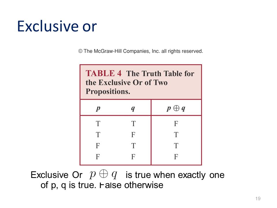 Exclusive or 19 Exclusive Or is true when exactly one of p, q is true. False otherwise