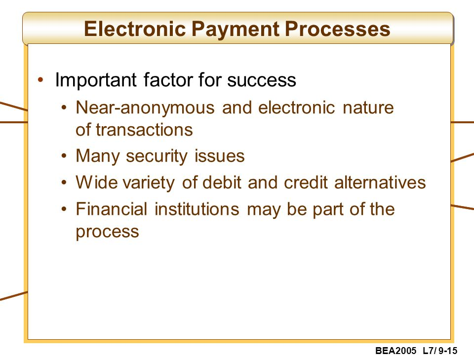 BEA2005 L7/ 9-15 Electronic Payment Processes Important factor for success Near-anonymous and electronic nature of transactions Many security issues Wide variety of debit and credit alternatives Financial institutions may be part of the process