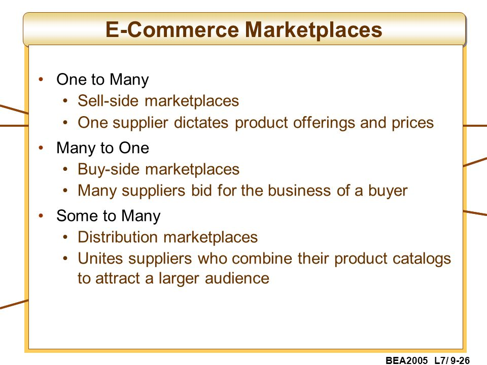 BEA2005 L7/ 9-26 E-Commerce Marketplaces One to Many Sell-side marketplaces One supplier dictates product offerings and prices Many to One Buy-side marketplaces Many suppliers bid for the business of a buyer Some to Many Distribution marketplaces Unites suppliers who combine their product catalogs to attract a larger audience
