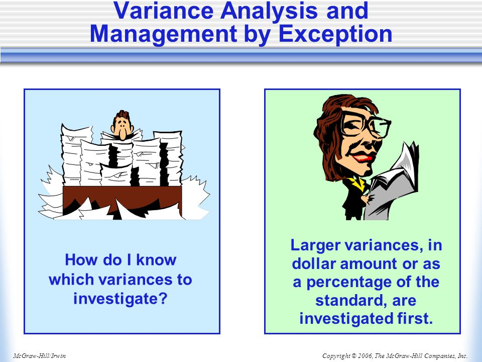 Copyright © 2006, The McGraw-Hill Companies, Inc.McGraw-Hill/Irwin Variance Analysis and Management by Exception How do I know which variances to investigate.