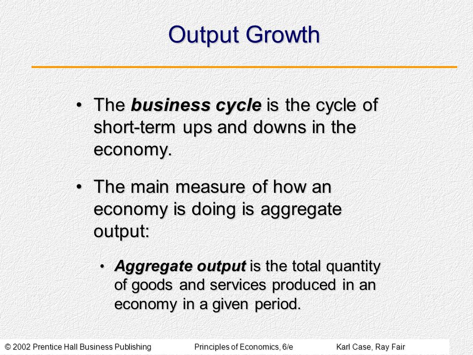 © 2002 Prentice Hall Business PublishingPrinciples of Economics, 6/eKarl Case, Ray Fair Output Growth The business cycle is the cycle of short-term ups and downs in the economy.The business cycle is the cycle of short-term ups and downs in the economy.