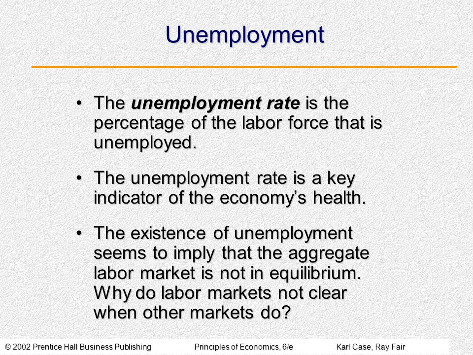 © 2002 Prentice Hall Business PublishingPrinciples of Economics, 6/eKarl Case, Ray Fair Unemployment The unemployment rate is the percentage of the labor force that is unemployed.The unemployment rate is the percentage of the labor force that is unemployed.