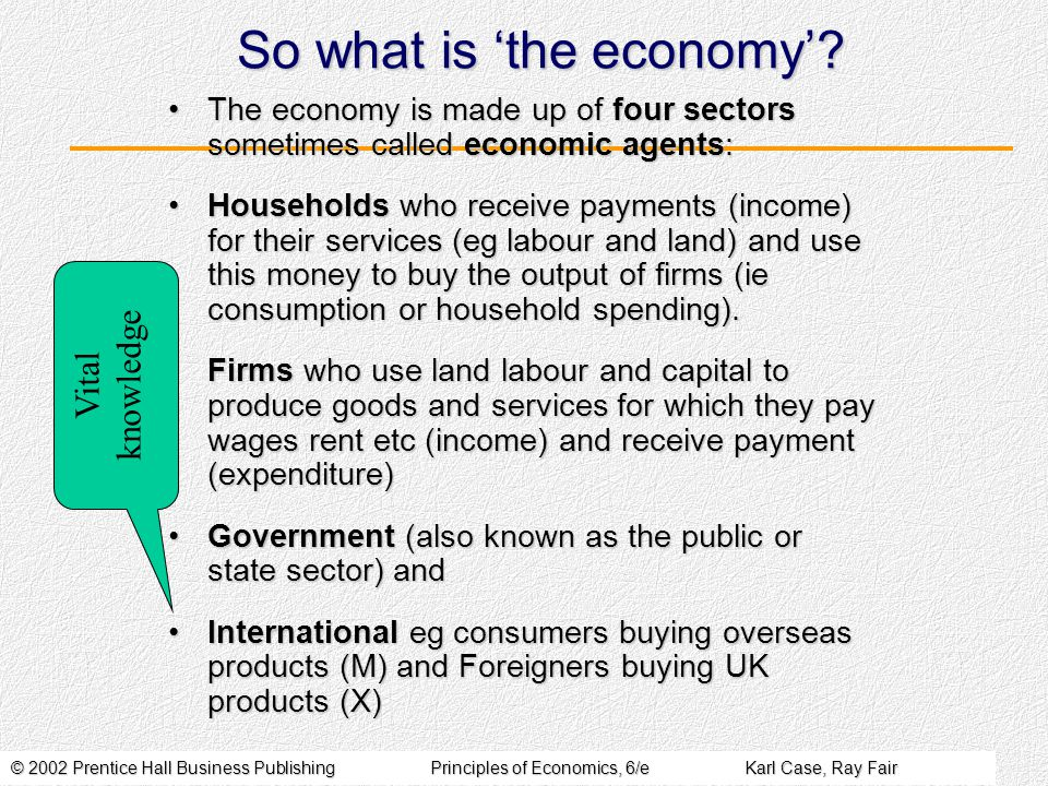 © 2002 Prentice Hall Business PublishingPrinciples of Economics, 6/eKarl Case, Ray Fair So what is 'the economy'.