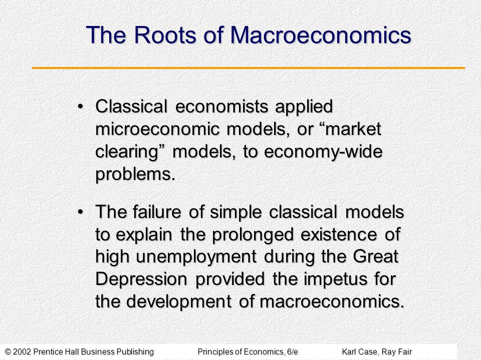 © 2002 Prentice Hall Business PublishingPrinciples of Economics, 6/eKarl Case, Ray Fair The Roots of Macroeconomics Classical economists applied microeconomic models, or market clearing models, to economy-wide problems.Classical economists applied microeconomic models, or market clearing models, to economy-wide problems.