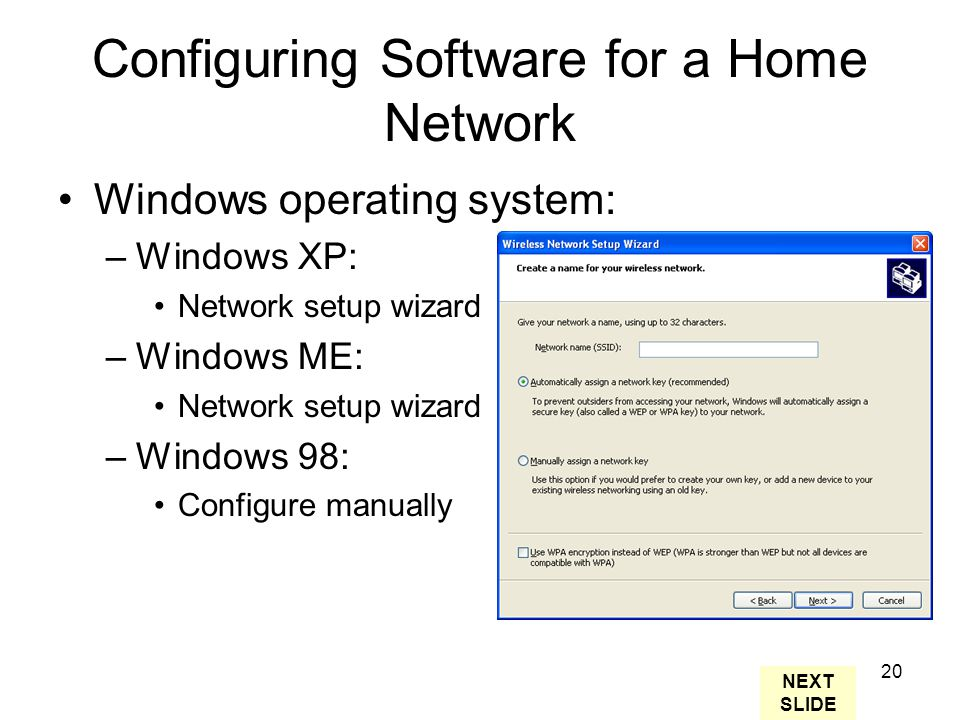 20 Configuring Software for a Home Network Windows operating system: –Windows XP: Network setup wizard –Windows ME: Network setup wizard –Windows 98: Configure manually NEXT SLIDE