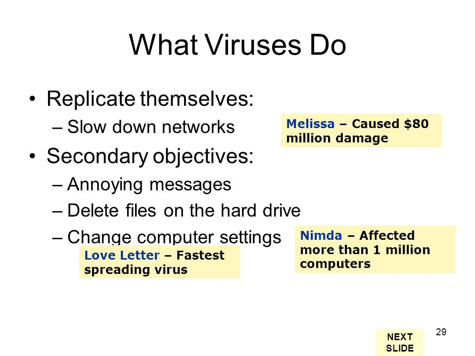 29 What Viruses Do Replicate themselves: –Slow down networks Secondary objectives: –Annoying messages –Delete files on the hard drive –Change computer settings Love Letter – Fastest spreading virus Melissa – Caused $80 million damage Nimda – Affected more than 1 million computers NEXT SLIDE