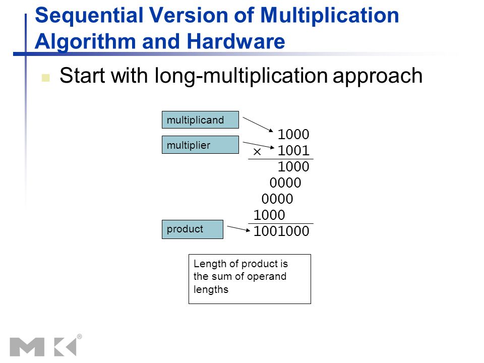 Sequential Version of Multiplication Algorithm and Hardware Start with long-multiplication approach 1000 × 1001 1000 0000 1000 1001000 Length of produ