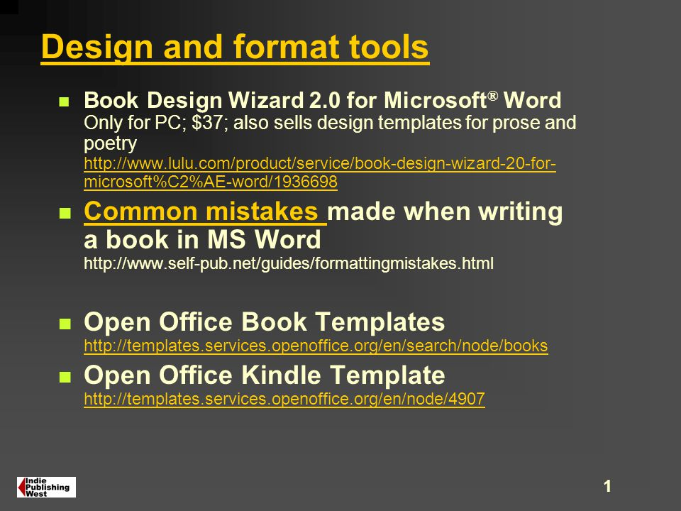 1 Design And Format Tools Book Wizard 20 For Microsoft