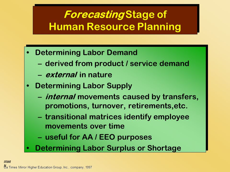 Forecasting Stage of Human Resource Planning Determining Labor Demand –derived from product / service demand –external in nature Determining Labor Supply –internal movements caused by transfers, promotions, turnover, retirements,etc.