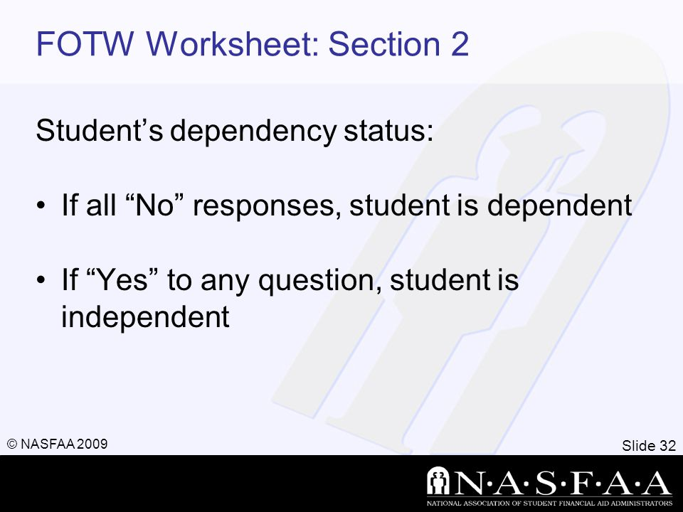 Slide 32 © NASFAA 2009 FOTW Worksheet: Section 2 Student's dependency status: If all No responses, student is dependent If Yes to any question, student is independent