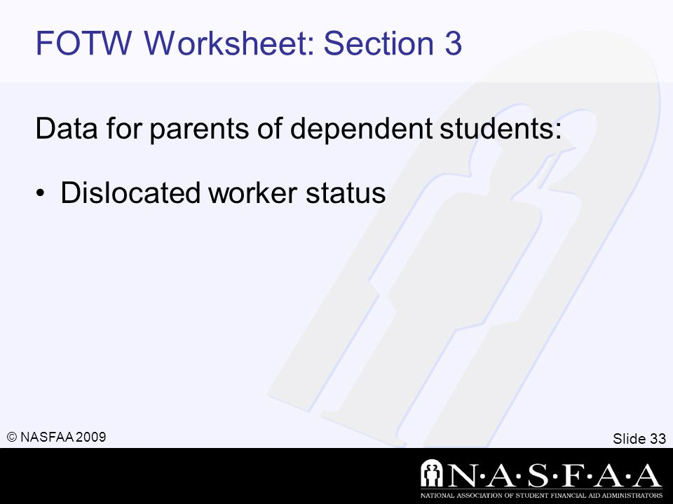 Slide 33 © NASFAA 2009 FOTW Worksheet: Section 3 Data for parents of dependent students: Dislocated worker status