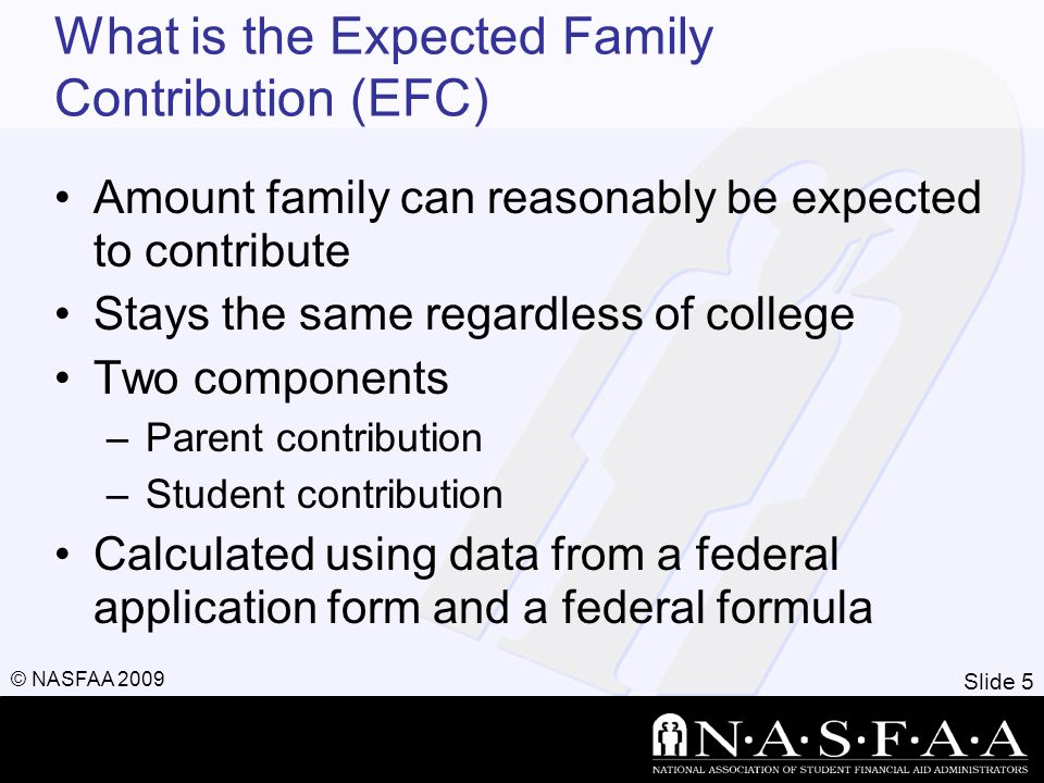 Slide 5 © NASFAA 2009 What is the Expected Family Contribution (EFC) Amount family can reasonably be expected to contribute Stays the same regardless of college Two components –Parent contribution –Student contribution Calculated using data from a federal application form and a federal formula