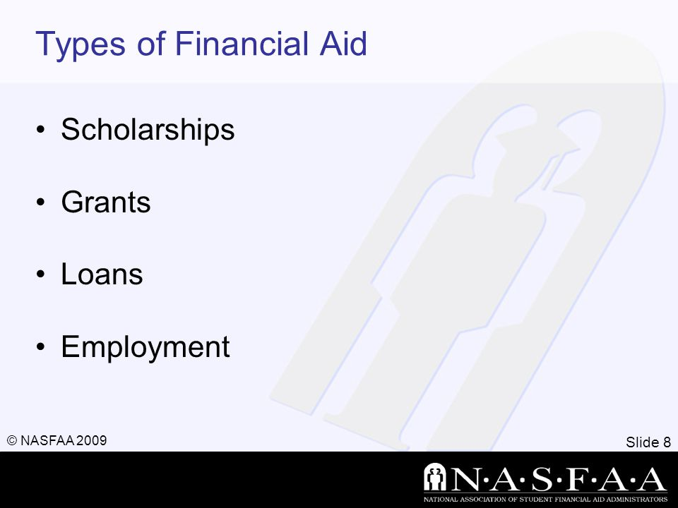 Slide 8 © NASFAA 2009 Types of Financial Aid Scholarships Grants Loans Employment