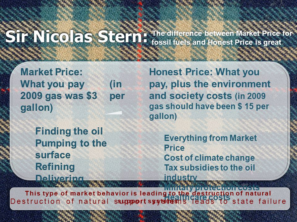 Sir Nicolas Stern: The difference between Market Price for fossil fuels and Honest Price is great Honest Price: What you pay, plus the environment and society costs (in 2009 gas should have been $ 15 per gallon) Everything from Market Price Cost of climate change Tax subsidies to the oil industry Military protection costs Healthcare costs This type of market behavior is leading to the destruction of natural support systems Destruction of natural support systems leads to state failure