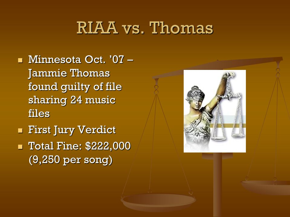 RIAA vs. Thomas Minnesota Oct.