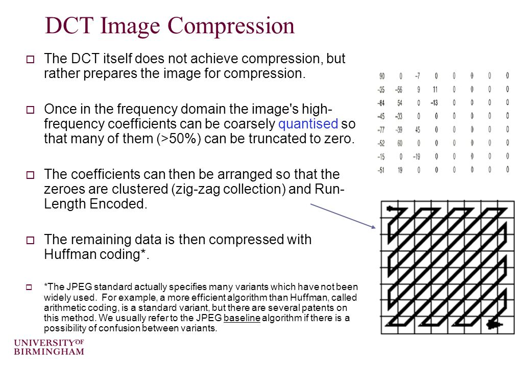 DCT Image Compression  The DCT itself does not achieve compression, but rather prepares the image for compression.