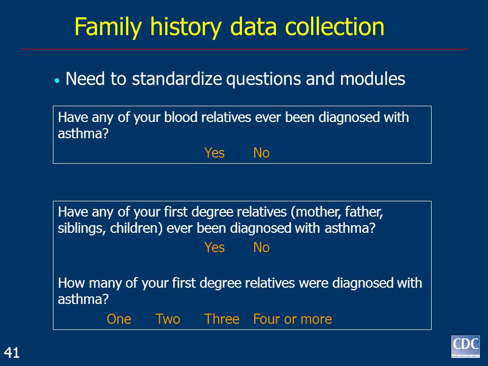 Family history data collection Need to standardize questions and modules Have any of your blood relatives ever been diagnosed with asthma.