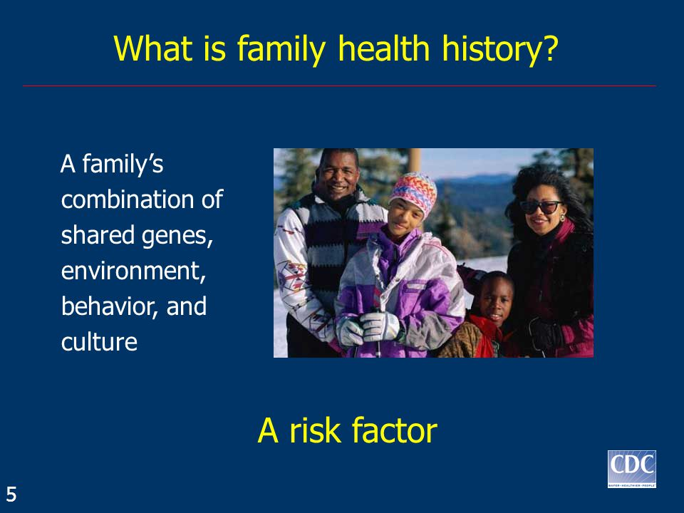 A family's combination of shared genes, environment, behavior, and culture What is family health history.