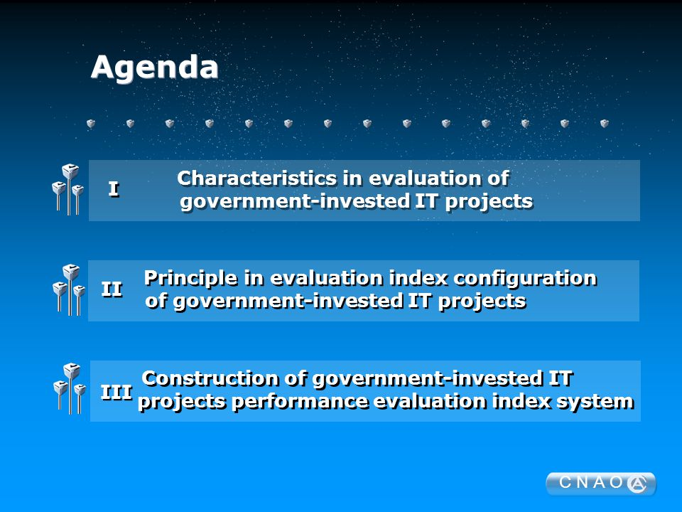 C N A O Agenda Characteristics in evaluation of government-invested IT projects Characteristics in evaluation of government-invested IT projects I I Construction of government-invested IT projects performance evaluation index system Construction of government-invested IT projects performance evaluation index system III Principle in evaluation index configuration of government-invested IT projects Principle in evaluation index configuration of government-invested IT projects II