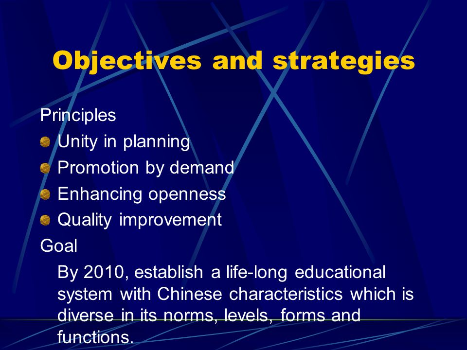 Objectives and strategies Principles Unity in planning Promotion by demand Enhancing openness Quality improvement Goal By 2010, establish a life-long educational system with Chinese characteristics which is diverse in its norms, levels, forms and functions.