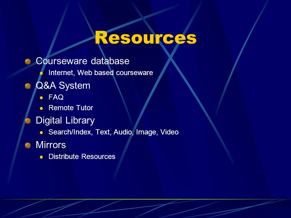 Resources Courseware database Internet, Web based courseware Q&A System FAQ Remote Tutor Digital Library Search/Index, Text, Audio, Image, Video Mirrors Distribute Resources