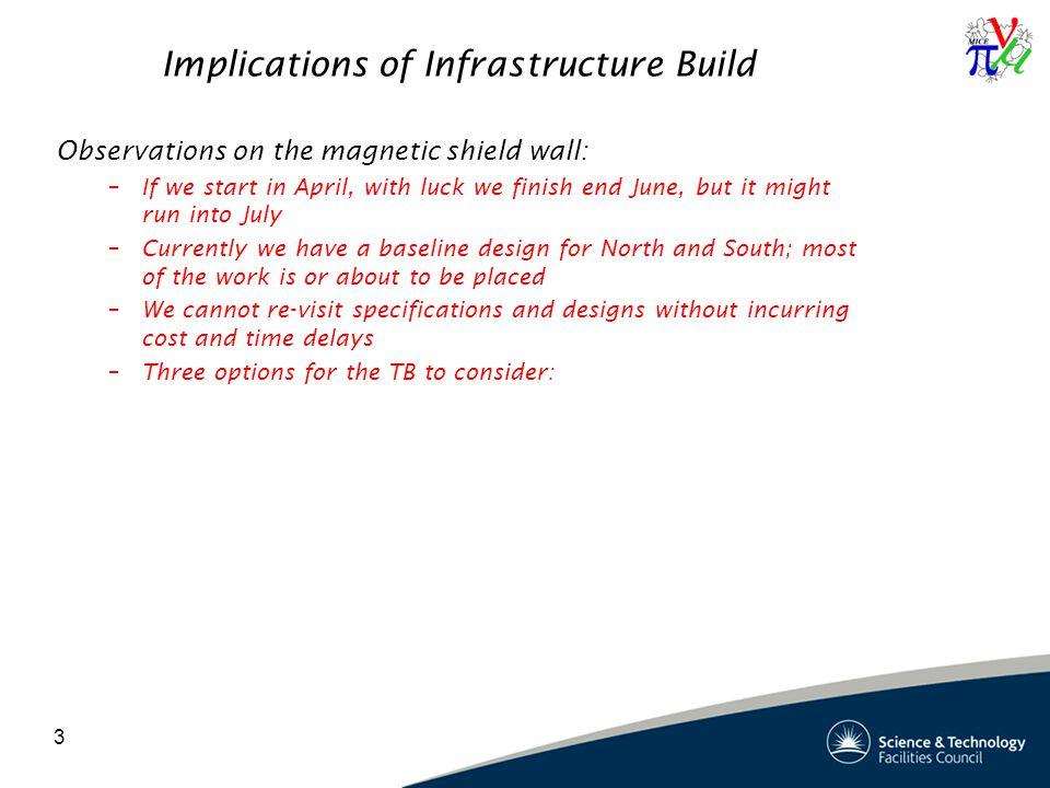 3 Implications of Infrastructure Build Observations on the magnetic shield wall: –If we start in April, with luck we finish end June, but it might run into July –Currently we have a baseline design for North and South; most of the work is or about to be placed –We cannot re-visit specifications and designs without incurring cost and time delays –Three options for the TB to consider: