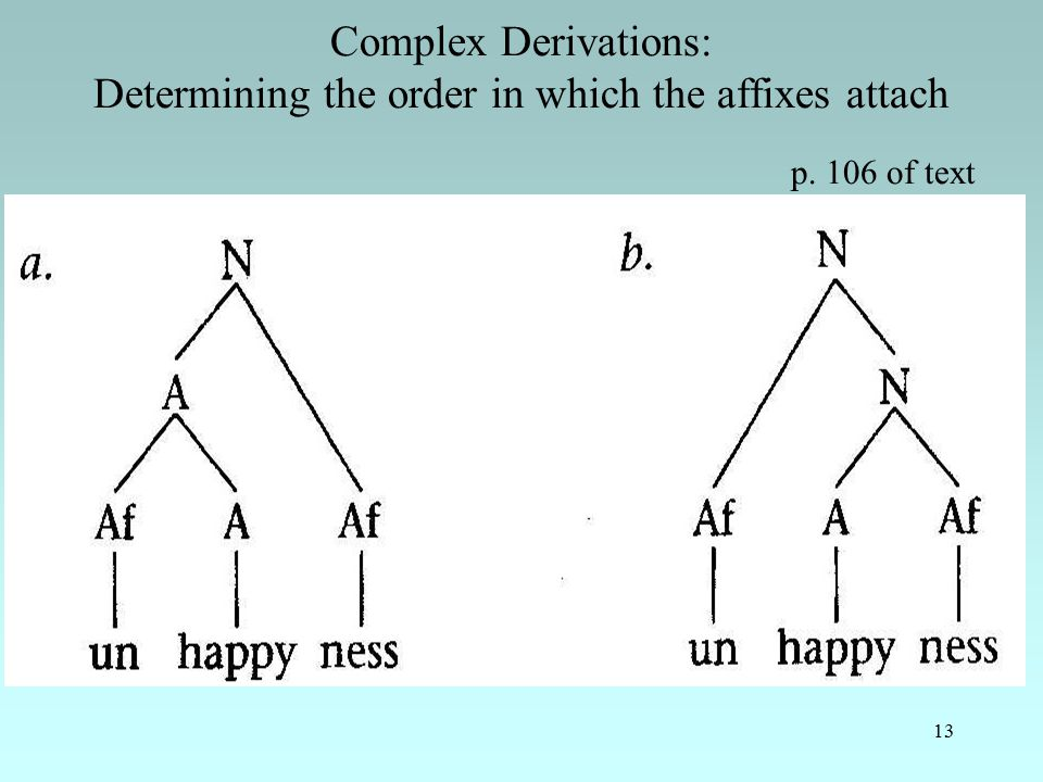 13 Complex Derivations: Determining the order in which the affixes attach p. 106 of text