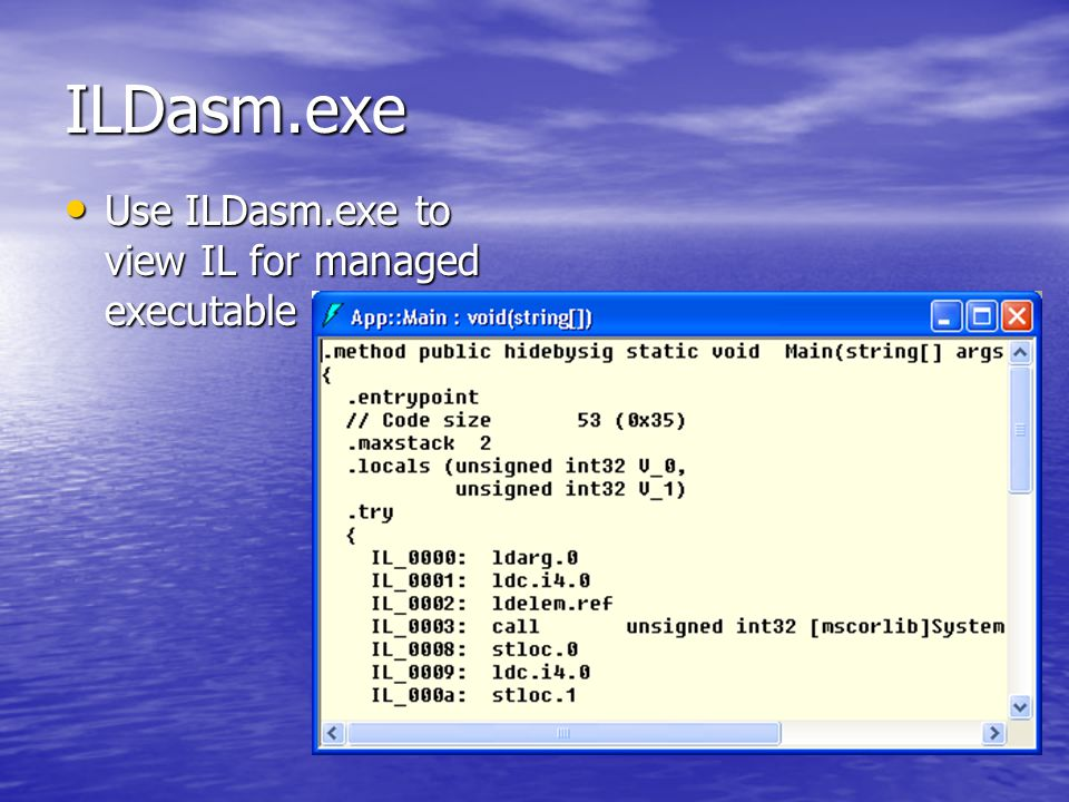 ILDasm.exe Use ILDasm.exe to view IL for managed executable Use ILDasm.exe to view IL for managed executable