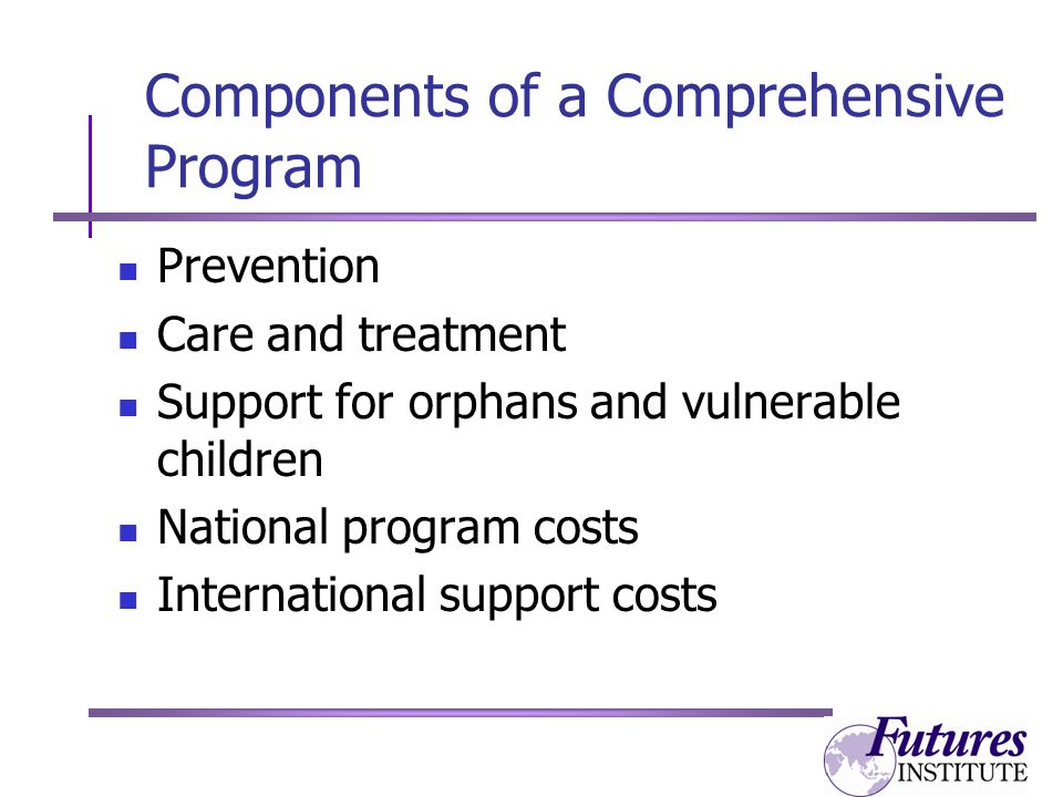 Components of a Comprehensive Program Prevention Care and treatment Support for orphans and vulnerable children National program costs International support costs