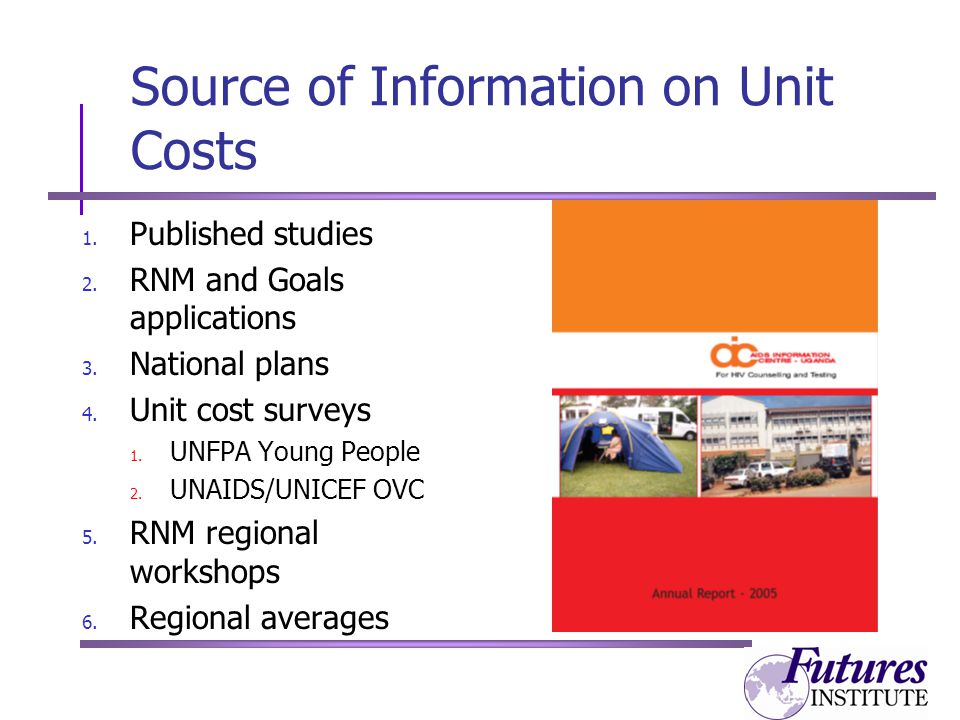 Source of Information on Unit Costs 1. Published studies 2.