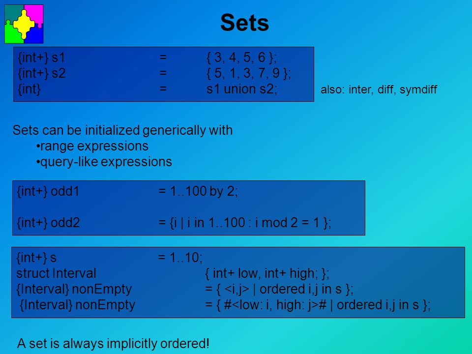 Sets A set is always implicitly ordered.