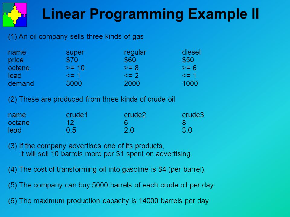 Linear Programming Example II (1) An oil company sells three kinds of gas namesuper regulardiesel price$70$60$50 octane>= 10>= 8>= 6 lead<= 1<= 2<= 1 demand300020001000 (2) These are produced from three kinds of crude oil namecrude1crude2crude3 octane1268 lead0.52.03.0 (3) If the company advertises one of its products, it will sell 10 barrels more per $1 spent on advertising.