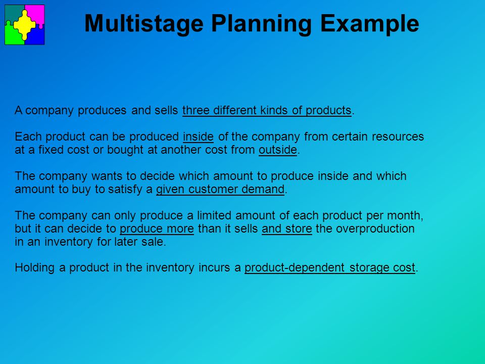 Multistage Planning Example A company produces and sells three different kinds of products.