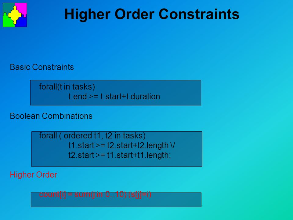 Higher Order Constraints Basic Constraints forall(t in tasks) t.end >= t.start+t.duration Boolean Combinations forall ( ordered t1, t2 in tasks) t1.start >= t2.start+t2.length \/ t2.start >= t1.start+t1.length; Higher Order count[i] = sum(j in 0..10) (s[j]=i)