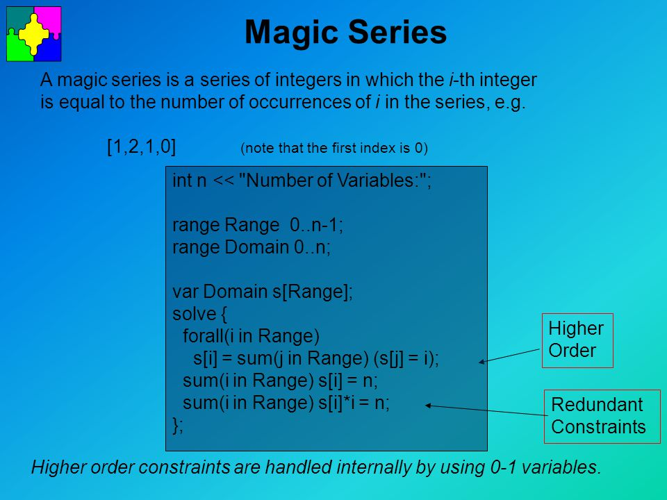 Magic Series A magic series is a series of integers in which the i-th integer is equal to the number of occurrences of i in the series, e.g.