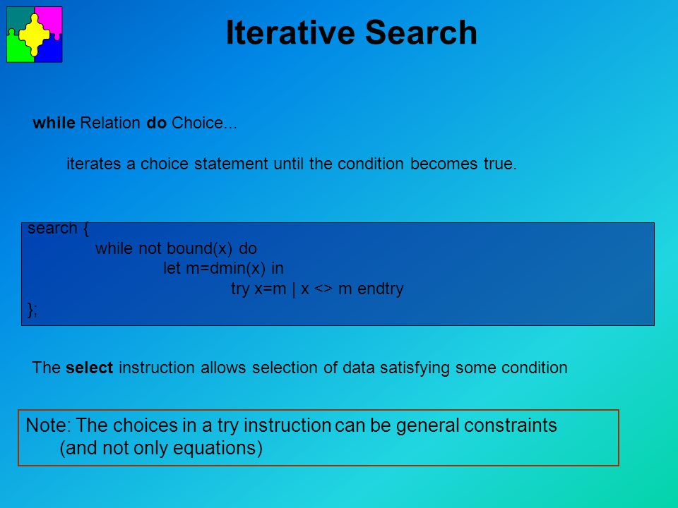 Iterative Search Note: The choices in a try instruction can be general constraints (and not only equations) while Relation do Choice...