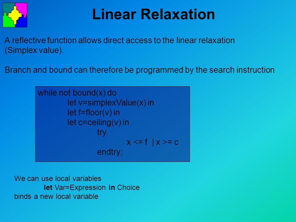 Linear Relaxation A reflective function allows direct access to the linear relaxation (Simplex value).