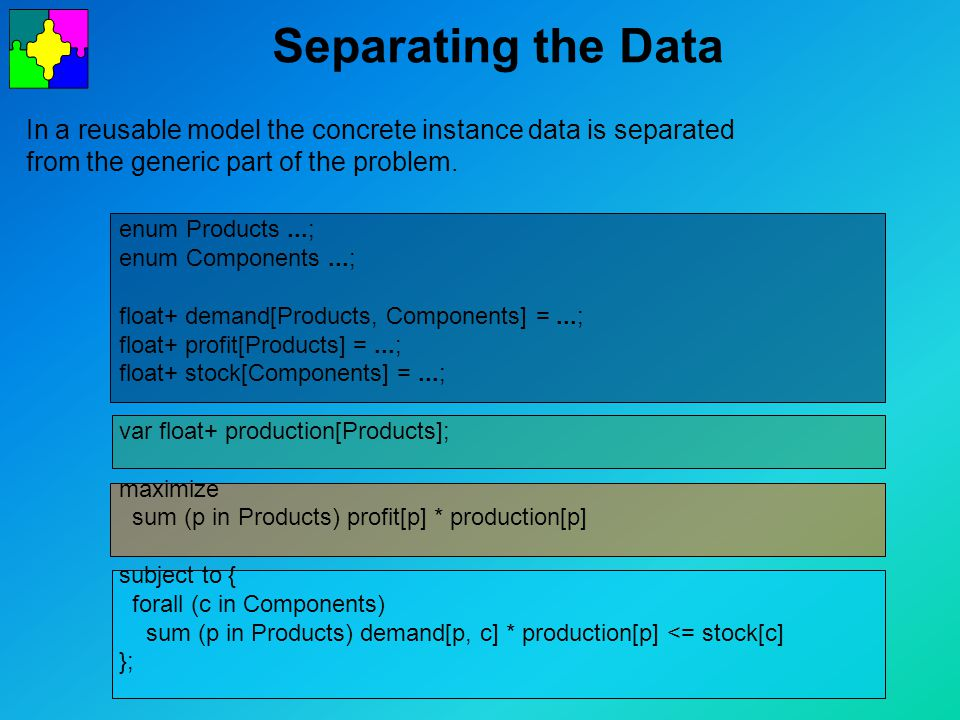 Separating the Data In a reusable model the concrete instance data is separated from the generic part of the problem.