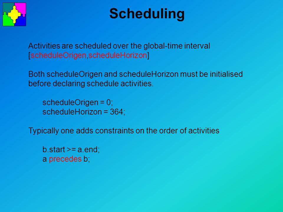 Scheduling Activities are scheduled over the global-time interval [scheduleOrigen,scheduleHorizon] Both scheduleOrigen and scheduleHorizon must be initialised before declaring schedule activities.
