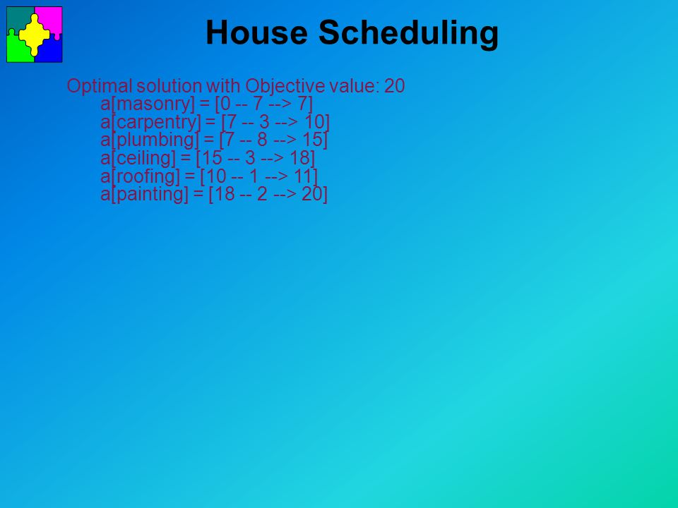 House Scheduling Optimal solution with Objective value: 20 a[masonry] = [0 -- 7 --> 7] a[carpentry] = [7 -- 3 --> 10] a[plumbing] = [7 -- 8 --> 15] a[ceiling] = [15 -- 3 --> 18] a[roofing] = [10 -- 1 --> 11] a[painting] = [18 -- 2 --> 20]