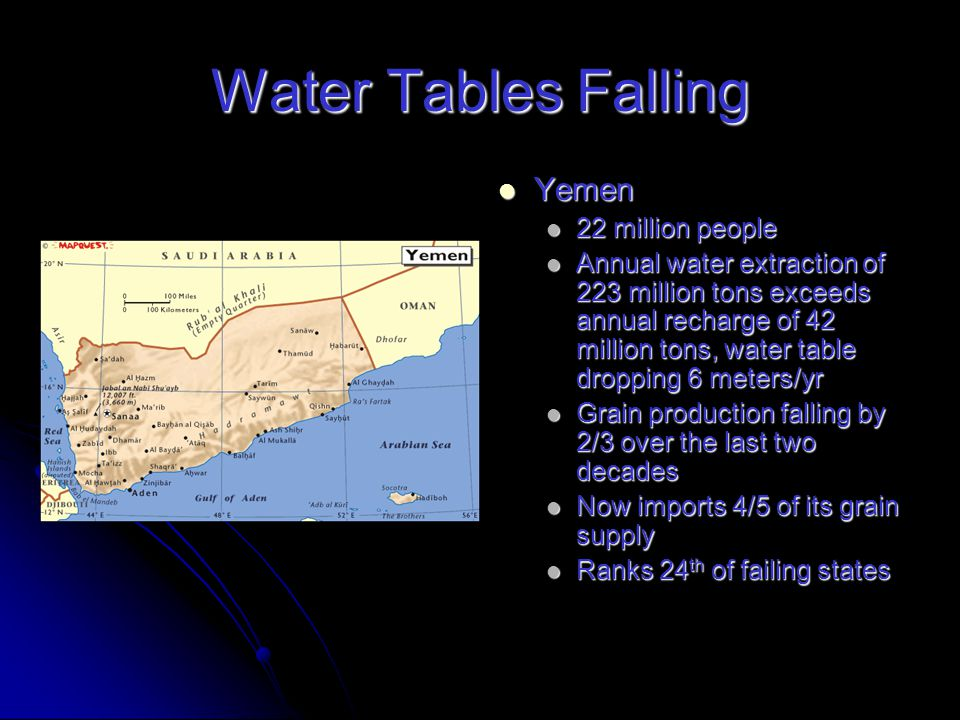 Water Tables Falling Iran Iran 71 million people 71 million people Overpumping aquifers by an average of 5 billion tons of water/yr – 33% of its annual grain harvest Overpumping aquifers by an average of 5 billion tons of water/yr – 33% of its annual grain harvest Water table is falling 2.8 meters/yr Water table is falling 2.8 meters/yr Saudi Arabia Saudi Arabia 25 million people 25 million people Water-poor as it is oil-rich Water-poor as it is oil-rich Wheat harvest dropped from 4.1 million tons in 1992 to 2.7 million tons in 2007, 34% Wheat harvest dropped from 4.1 million tons in 1992 to 2.7 million tons in 2007, 34%
