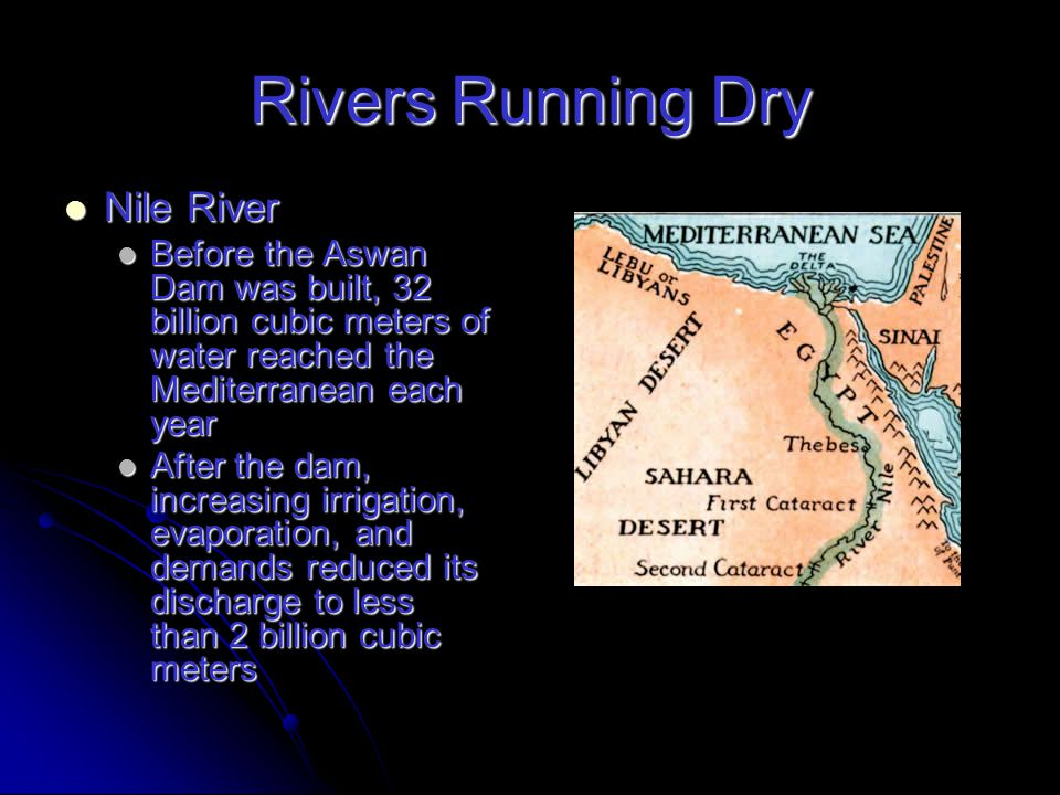 Rivers Running Dry Yellow River Yellow River Flows 4,000 km through 5 provinces before it reaches the Yellow Sea Flows 4,000 km through 5 provinces before it reaches the Yellow Sea First ran dry in 1972 and since 1985 it has often failed to reach the sea First ran dry in 1972 and since 1985 it has often failed to reach the sea