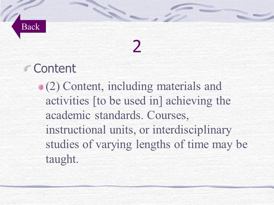 1 Objectives (1) Objectives of a planned course, instructional unit or interdisciplinary studies to be achieved by all students Back