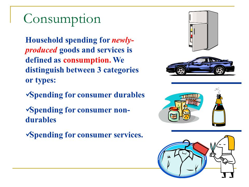Here we simply add up all expenditures for final goods and services in one year Total Expenditure = C + I + G + NX Where, C is personal consumption expenditure; I is gross private domestic investment; G is government expenditure (local, state, and federal); and NX is net exports, or Exports minus Imports The expenditure approach