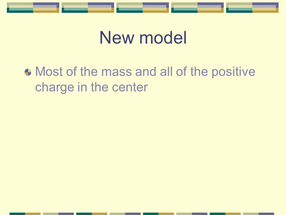 New model Most of the mass and all of the positive charge in the center
