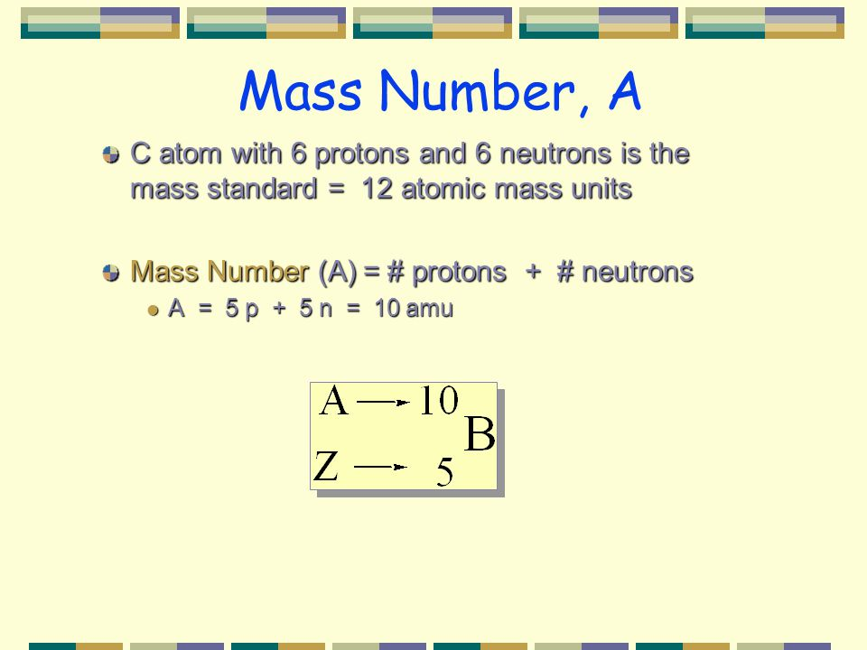 Mass Number, A C atom with 6 protons and 6 neutrons is the mass standard = 12 atomic mass units Mass Number (A)= # protons + # neutrons A = 5 p + 5 n = 10 amu A = 5 p + 5 n = 10 amu