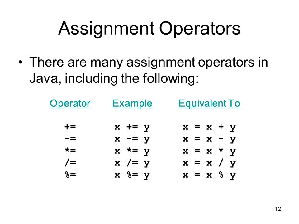 12 Assignment Operators There are many assignment operators in Java, including the following: Operator += -= *= /= %= Example x += y x -= y x *= y x /= y x %= y Equivalent To x = x + y x = x - y x = x * y x = x / y x = x % y