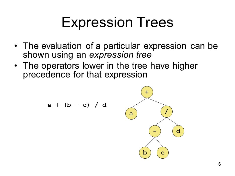 6 Expression Trees The evaluation of a particular expression can be shown using an expression tree The operators lower in the tree have higher precedence for that expression a + (b – c) / d a + / -d bc
